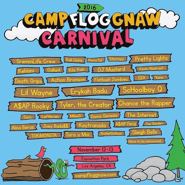Tyler, the Creator Announces Camp Flog Gnaw 2016 Lineup, feat. Chance The Rapper, A$AP Rocky, Lil Wayne