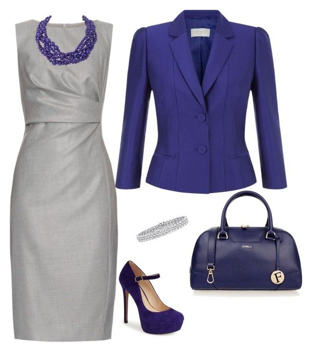 """Classic work look with grey and indigo blue"" by imfanci on Polyvore featuring MaxMara, Furla, Jessica Simpson, Humble Chic, Palm Beach Jewelry and Hobbs"
