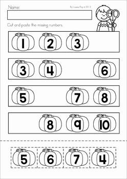 Autumn / Fall Math No Prep Worksheets & Activities. Cut and paste the missing numbers (pumpkins).