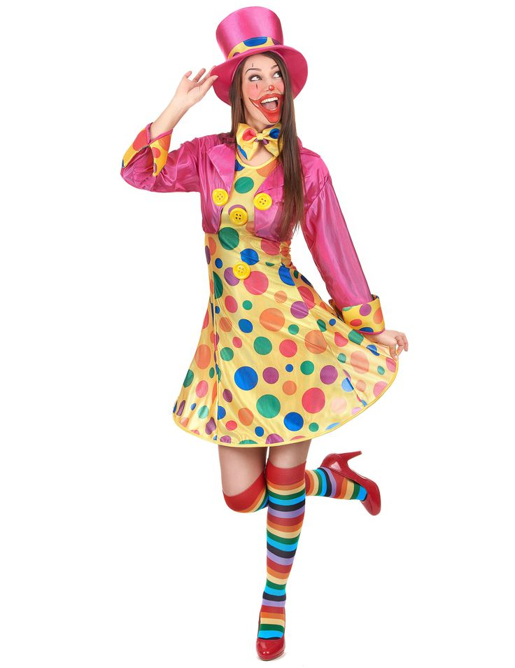 Déguisement clown femme : Ce déguisement d'artiste clown pour femme se compose d'une robe, d'un veston, d'un chapeau et d'un noeud papillon (chaussures et bas non inclus).Ce costume de clown sera...