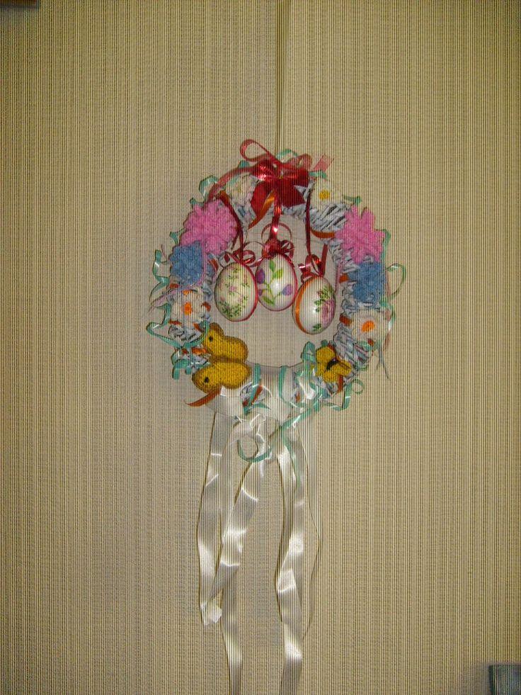 Húsvéti/tavaszi koszorú spriálfonással + horgolással + szalvéta tech-val. Papírfonás Paper weaving