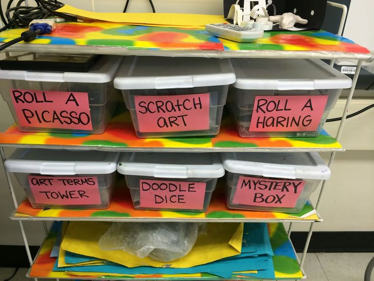I like the use of the storage bins for portable centers. From Miss French Fry Makes Art: Art Centers.