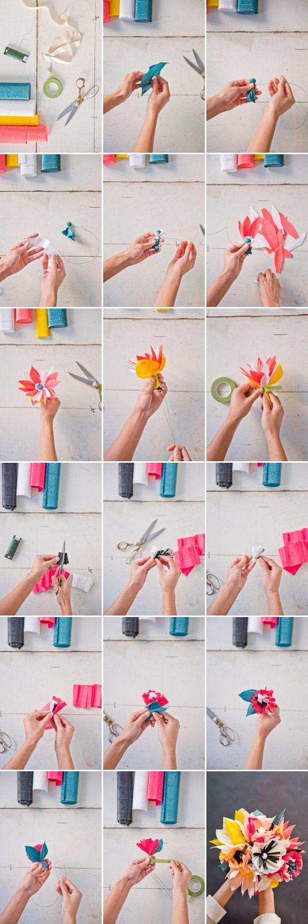 Paper Flower Bouquet DIY   Oh Happy Day!