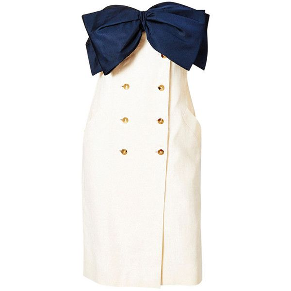 Preowned Bill Blass Strapless Bow Dress (£845) ❤ liked on Polyvore featuring dresses, white, pre owned dresses, oversized white dress, white strapless dress, bill blass and white bow dress