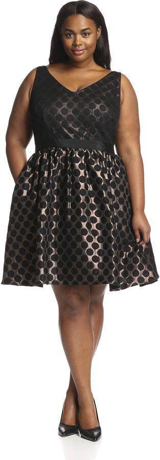 Plus Size Short Dot Jacquard Dress