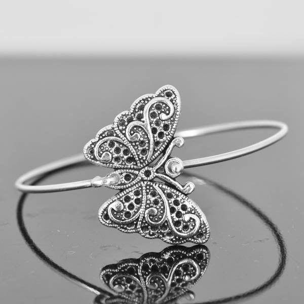Butterfly Bangle, Sterling Silver Bangle, Butterfly Bracelet, Stackable Bangle, Bridesmaid Bangle, Bridesmaid jewelry, Bridal Bracelet by JubileJewel on Etsy
