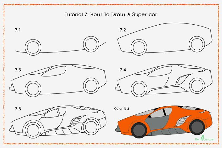 How To Draw A Car Step By Step For Kids? | Drawing for ...