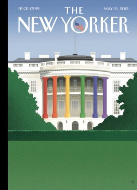 """Le copertine del 2012: ¨Ancora il New Yorker, ma questa volta la copertina è di maggio 2012. Nell'illustrazione le colonne della casa bianca sono colorate con i colori della bandiera arcobaleno. Il riferimento è alla battaglia per i matrimoni gay che da tempo si tiene in America. Un messaggio forte da parte del giornale, in sostegno di chi si impegna affinché tali unioni vengano ufficializzate in tutto il paese""""."""