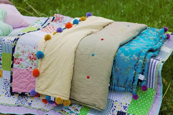 zakkStudio Linen Blanket Pom Pom/Linen Comforter Handmade/Size