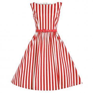 Červeno-Biele Pásikavé Šaty LINDY BOP AUDREY