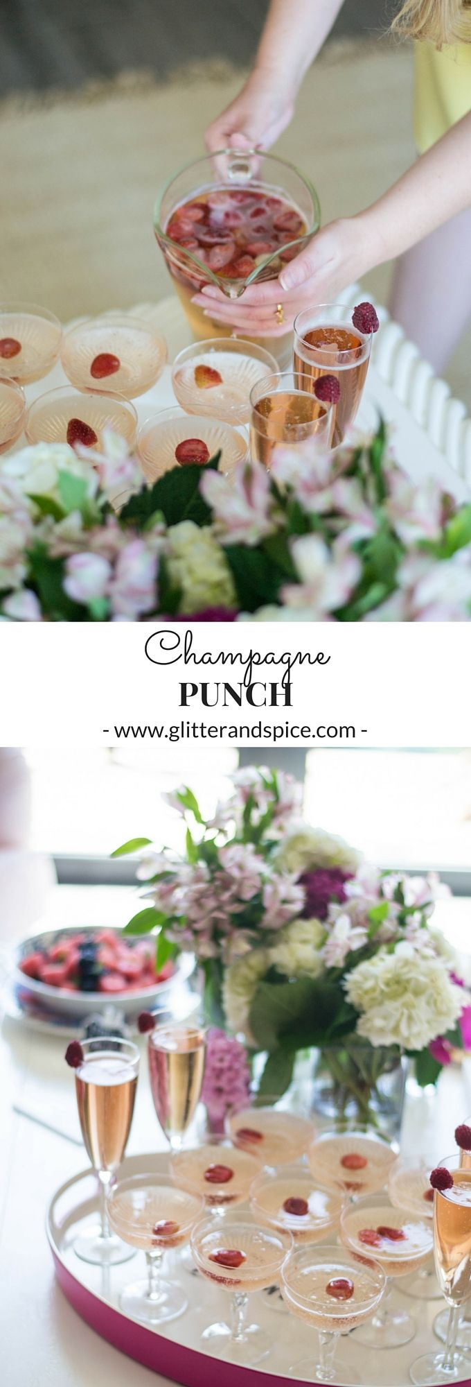 This Champagne Punch recipe from Glitter & Spice is the perfect drink to serve at a brunch, bridal shower, or soiree!