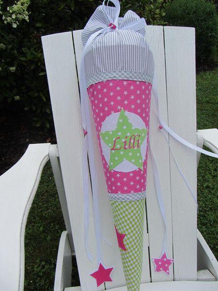 Schultüte ★ aus Stoff ★ grau weiß mit pinkem Stern von De Dizzi auf DaWanda.com