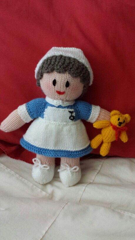 Hand Knitted Nurse - #JeanGreenhowePattern