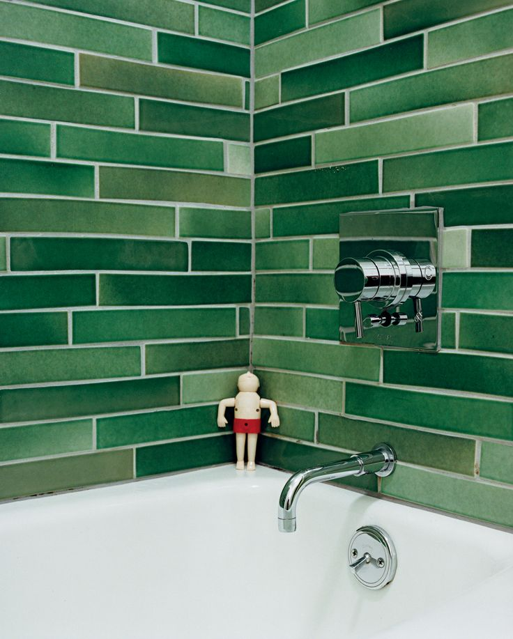 The Heath tiles in the bathroom were hand-selected from boxes of factory seconds.  Great idea for keeping costs down.