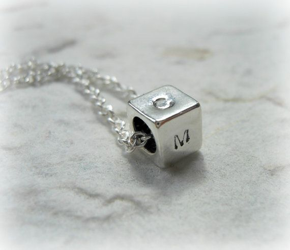 Hand Stamped Necklace with Initials on a Sterling Silver Cube Charm - Personalized with up to 4 letters on Etsy, $20.00