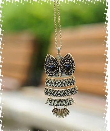 fashion vintage owl necklace ,perfect accessories for girls .street fashion girls may