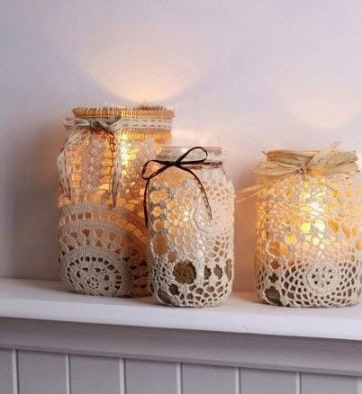 Lace covered jar, weave ribbon through outer holes of doily & tie in pretty bow. Add LED candles or scented candles