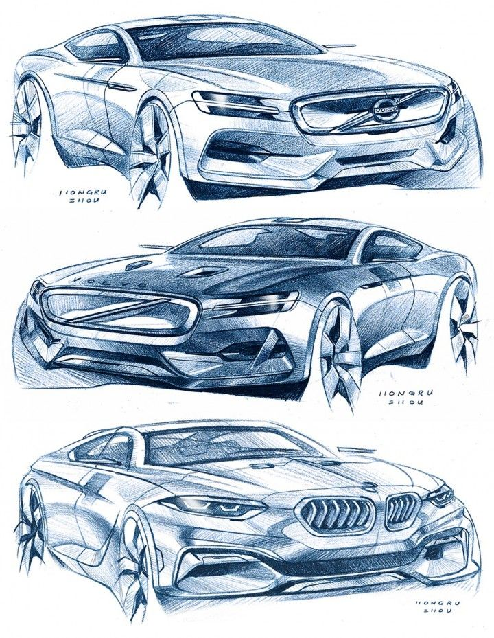 Car Design Sketches by Hongru Zhou 볼보 카 스케치