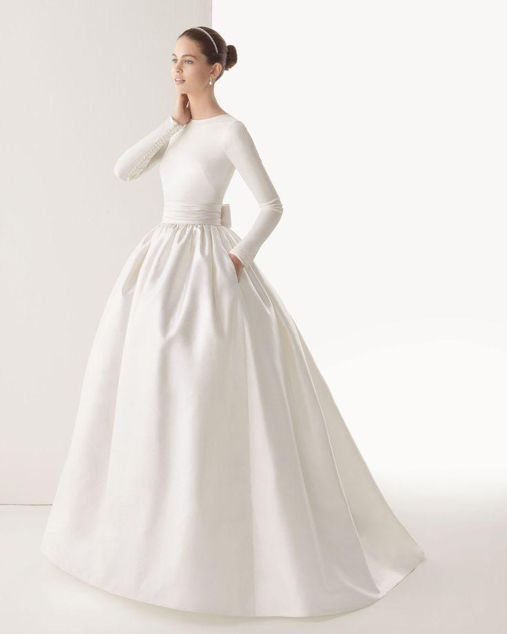 CORCEGA - Body en punto de seda y falda de seda rústica en color marfil 61K19 Tiara Swarovski en color natural