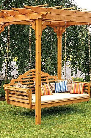 Can you imagine a better place to take an afternoon cat nap than this swinging bench?