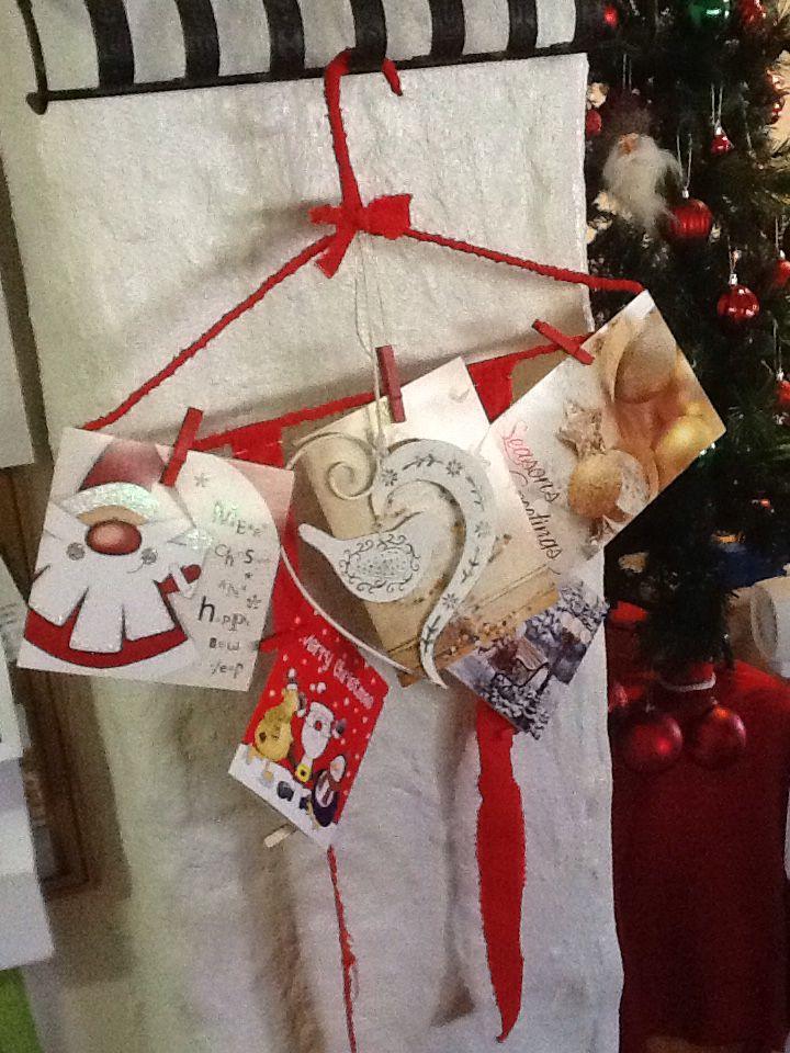Christmas card coat hanger
