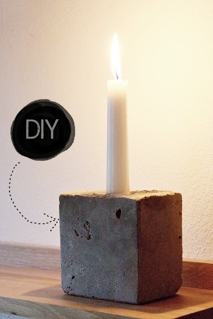 Cement Candle Holder but with a votive or plant