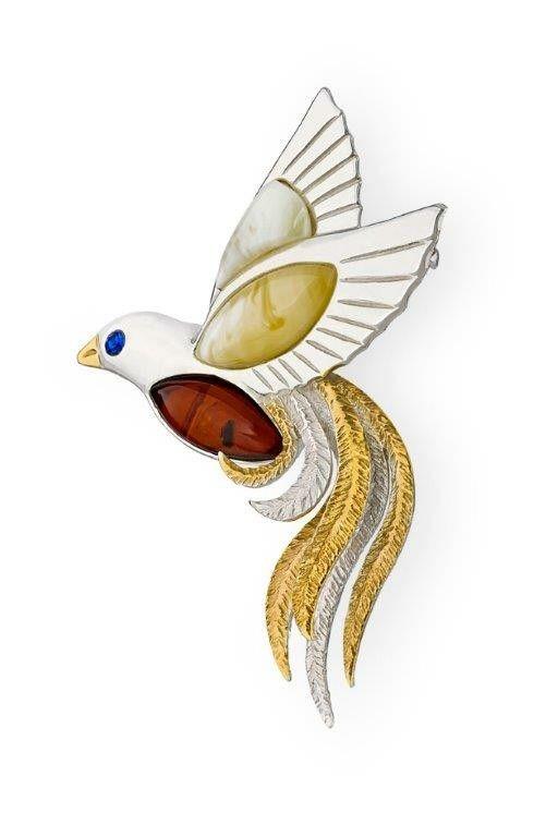 Paradise bird Brooch-pendant, silver925, Baltic amber