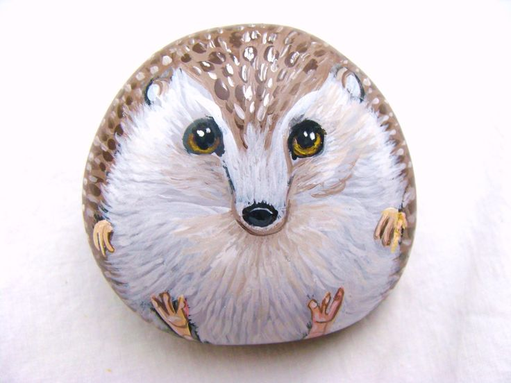 rocks painted like fox | Painted Rock Paper Weight Hedgehog FREE SHIPPING in by Naturetrail