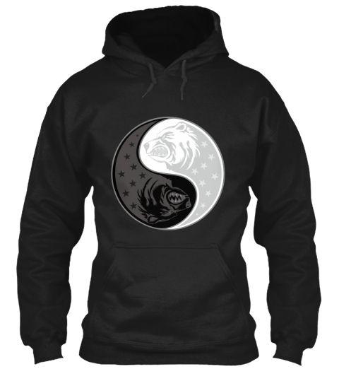 Bear Yin Yang Black T-Shirt Front