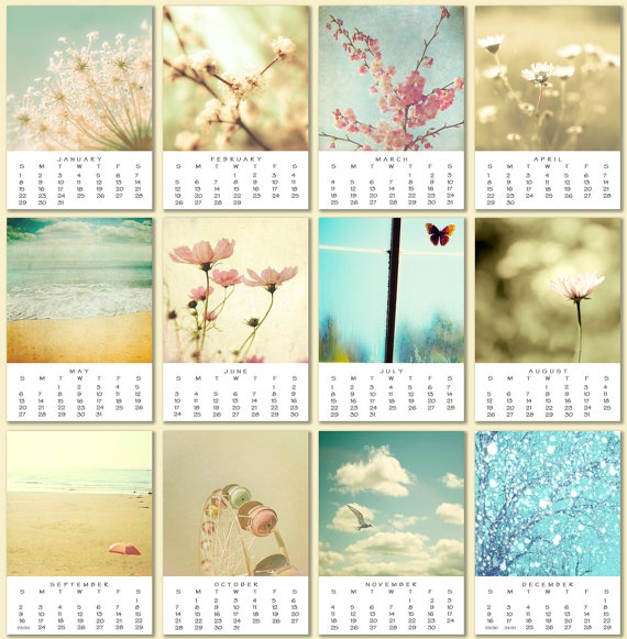 2012 Calendar photo calendar desk calendar feminine pastel girly hostess gift 5x7