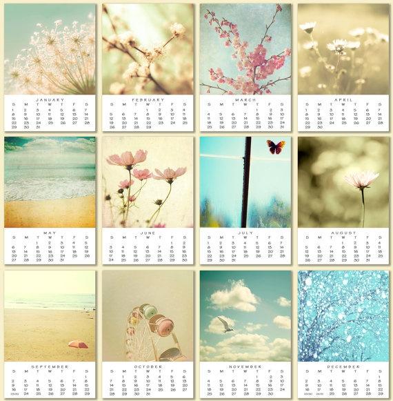 2012 Calendar photo calendar desk calendar feminine pastel girly hostess gift 5x7