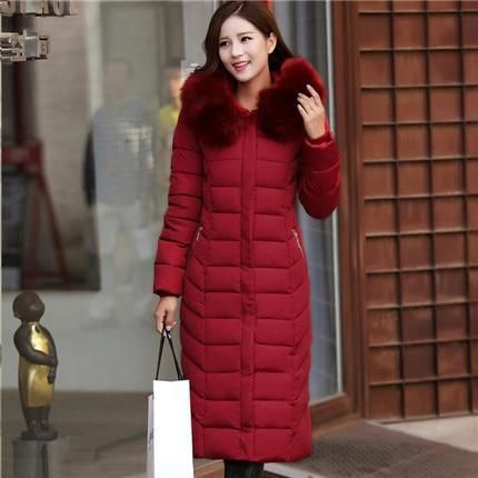 Women Winter Coat Cotton Knee Long Jackets Coat Overcoat Hooded Thick Padded Jacket Lady Plus Size Outerwear Parkas Lq072 Wine R