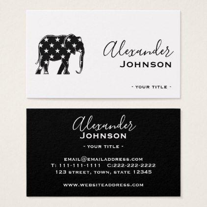 Elephant Black Cool Silhouette Fashion Stylist Business Card - stylist business card business cards cyo stylists customize personalize