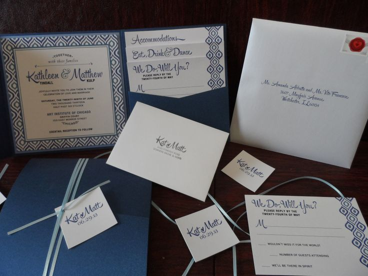 Blue And White Pocket Invitation Design Complete With Printed Envelopes Ribbon Tag Detail By My Menuista