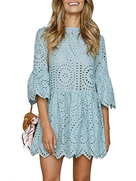 05dba40da30a0e Missy Chilli Damen Kleid Kurz Sommer Elegant Langarm O Ausschnitt Baumwolle  Spitze Mini Kleid Knielangkleid Dress