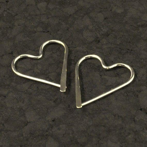 Silver Heart Hoops / Catchless Sterling Earrings / by MetalRocks