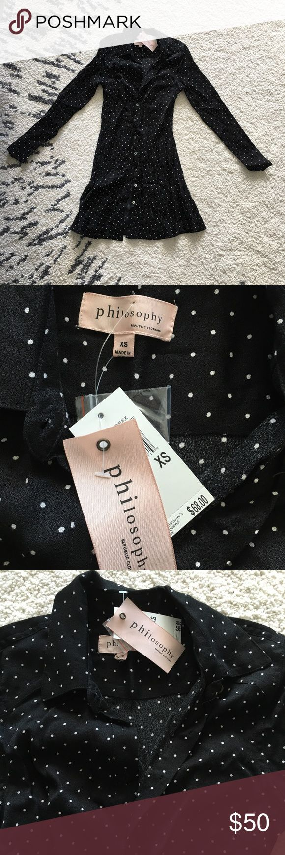 Philosophy Black Polka Dot Button Up Dress Very casual dress - great for work or a night out. Brand new with original tags!! Never worn and no flaws! Philosophy Dresses Long Sleeve