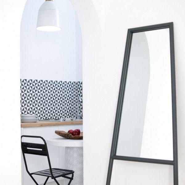 Mirror, & archway to beach Studio Suite kitchenette at Bellonias Villas in Kamari, Santorini