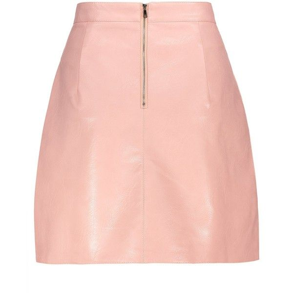 A Line PU Leather Mini Skirt (£13) ❤ liked on Polyvore featuring skirts, mini skirts, short mini skirts, short a line skirt, pleather mini skirt, red skirt and short skirts