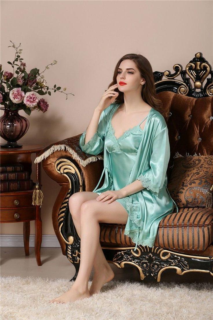 Eyicmarn - 1Pcs Women Satin Silk Nightdress Lingerie Lace