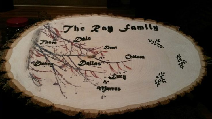 Family plaque. Wax paper image transfer, and wood burned letters.