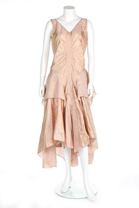 A pink-gold shot taffeta cocktail gown, probably Lanvin, circa 1927-29.