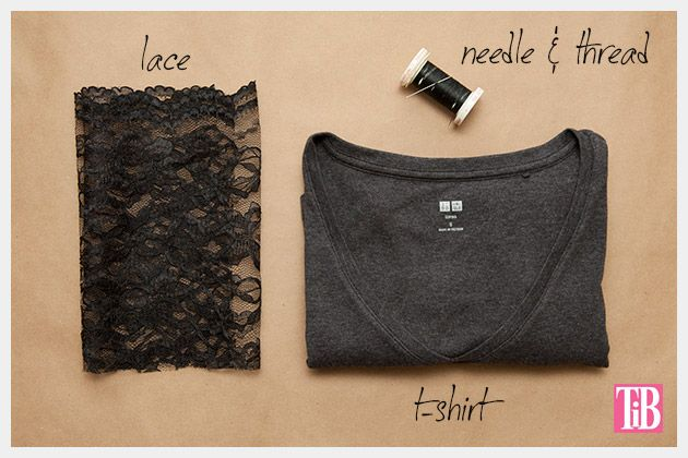 DIY T-Shirt with Lace Cuffs Supplies