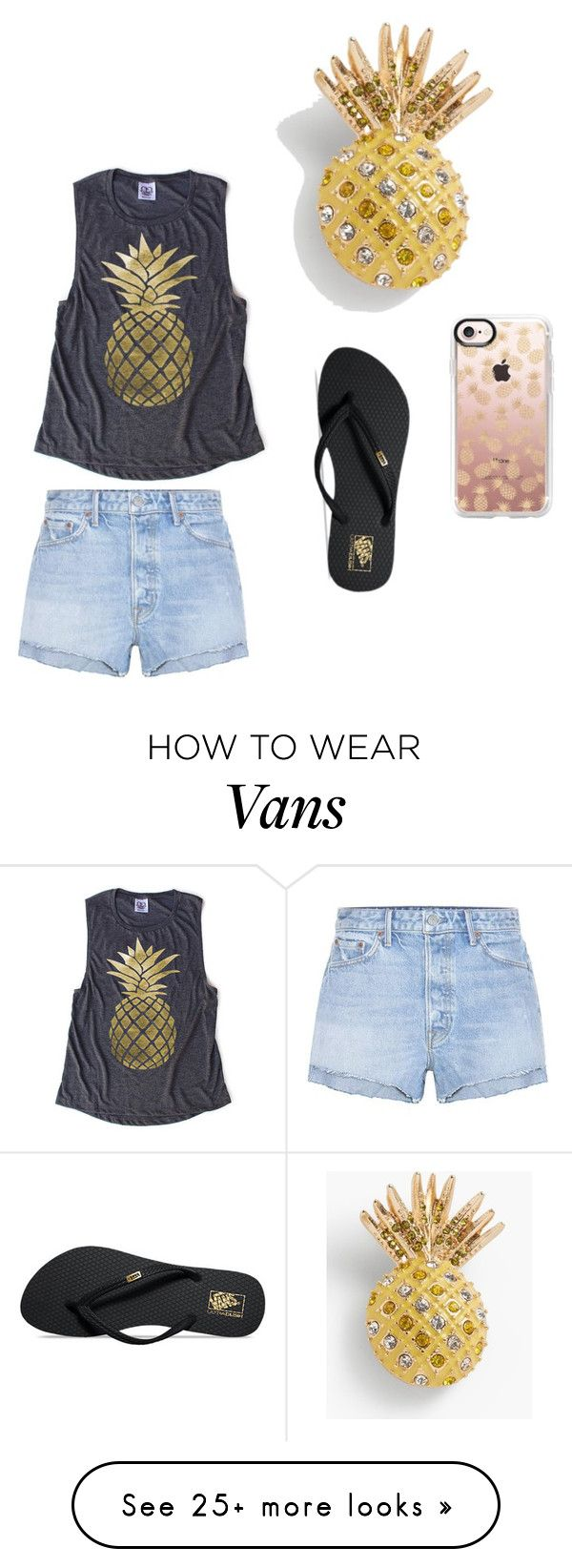 """Pineapples'!! "" by krazy-kaydance on Polyvore featuring GRLFRND, Talbots, Vans and Casetify"