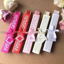 Envío gratis 50 Set/lote plegable ventilador de la mano del regalo de boda del ventilador de papel de bambú con Caja de Regalo de Papel de Lujo + tarjeta de agradecimiento + cinta