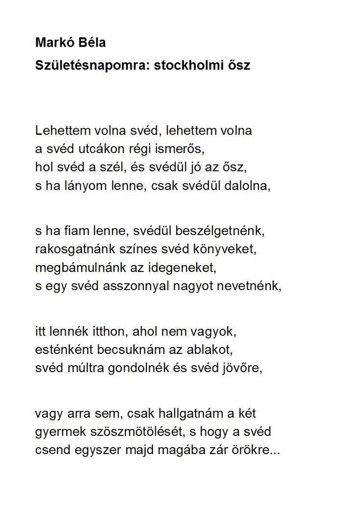 Markó Béla: Születésnapomra: stockholmi ősz
