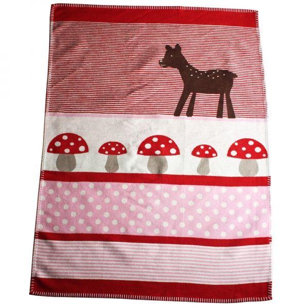 Babydecke Juwel Lena rot 75x100 cm - David Fussenegger #blanket #spread #quilt #cotton #baby #deer