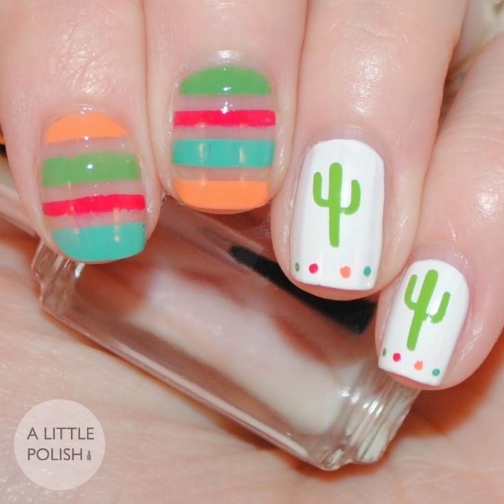 A Fiesta look created using Nail Decals from Lacquer by Lissa A Little Polish
