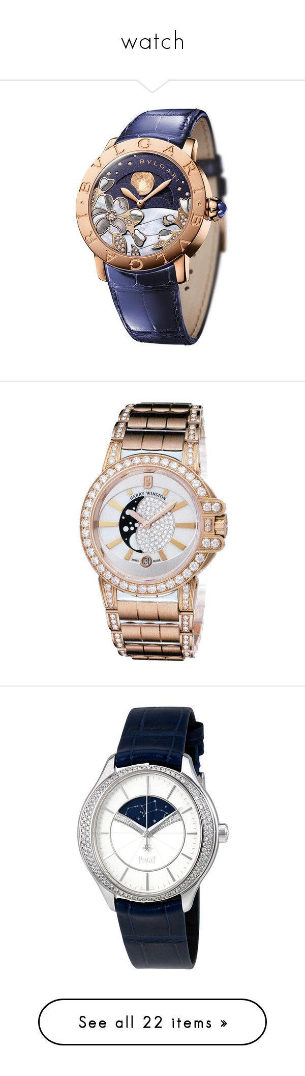 """""""watch"""" by aries-ariessw-sw on Polyvore featuring jewelry, watches, blue dial watches, white wrist watch, water resistant watches, bulgari, bulgari watches, harry winston jewelry, harry winston watches and white watches"""
