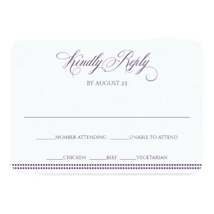 Elegant RSVP Reply Card | Charlene (Plum) - calligraphy gifts custom personalize diy create your own